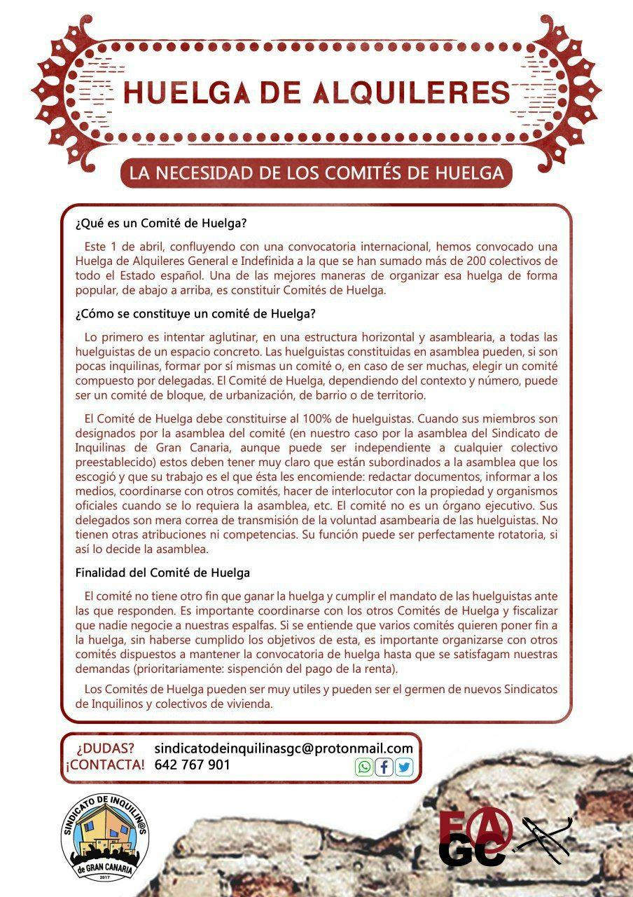 Cartel comités huelga