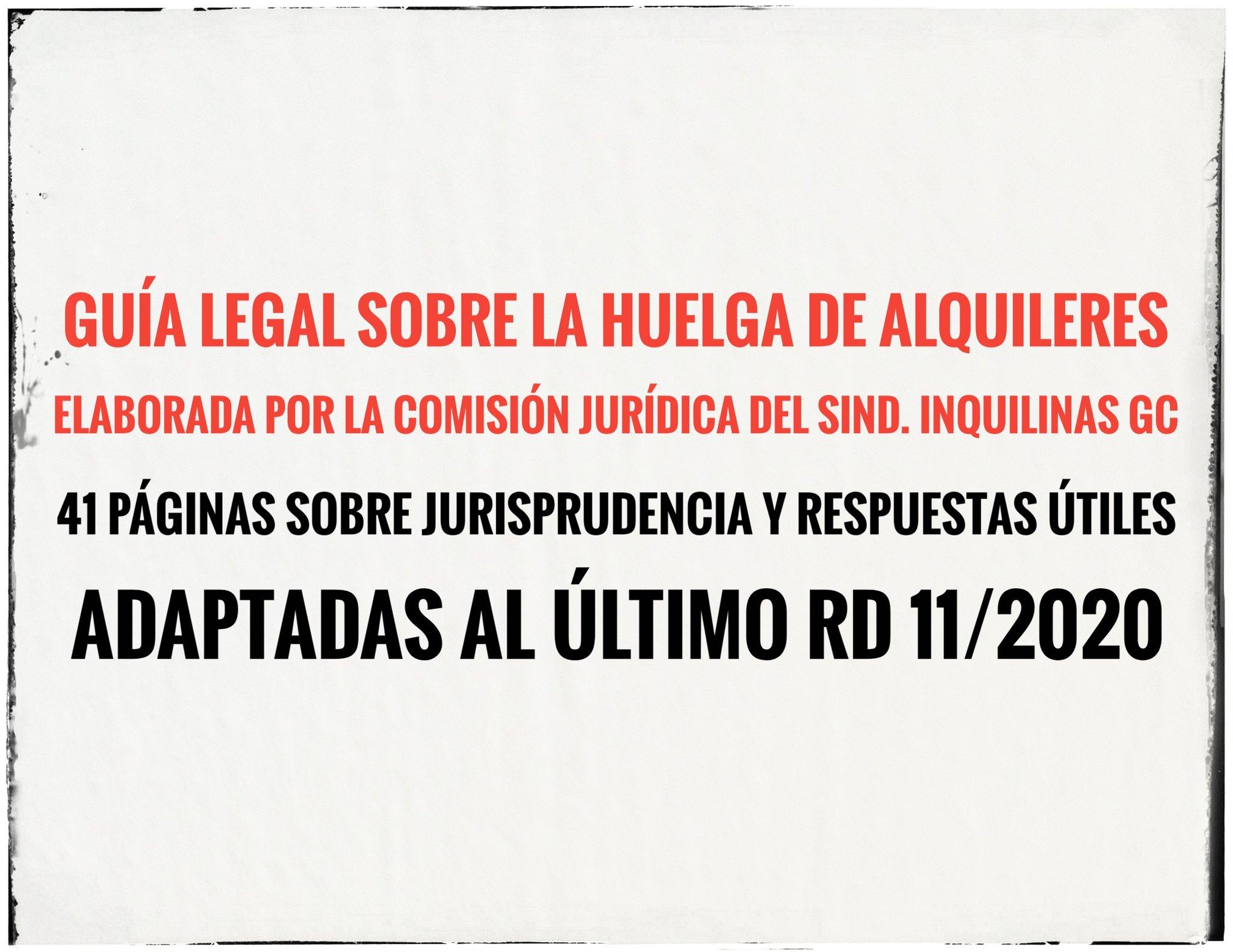 Cartel guía legal sobre la huelga de alquiler