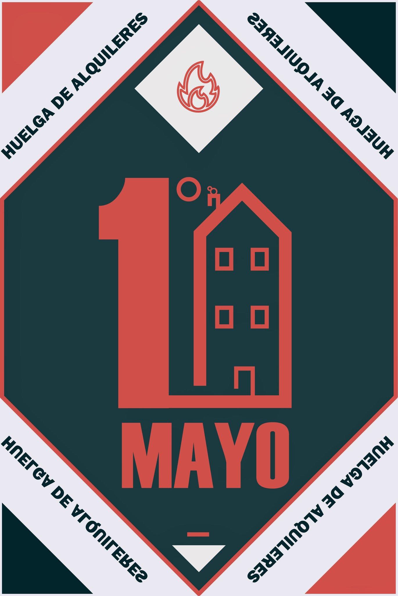 Cartel llamando a la huelga de alquiler el 1 de mayo